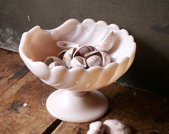 Vintage Pink Milk Glass Shell Vase - Pedestal Tray for Trinkets