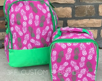 Pineapple Print Backpack and Lunchbox with FREE Monogramming, Back to School, Girls Backpack and Lunchbox Set