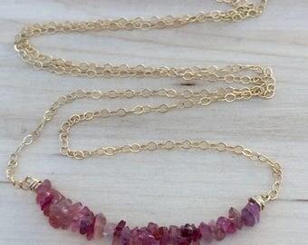 Pink Tourmaline Raw Gemstone Necklace, Pink Stone Necklace, Organic Pink Tourmaline Necklace, 14k gold filled Tourmaline Necklace