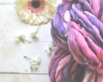 Yarn Handspun Super Bulky Thick n Thin Purple Dark Pink Hand dyed Wool Knitting Crochet Supplies Yospun