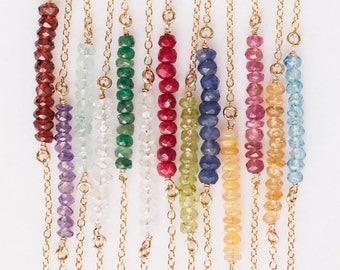 Layering Necklaces, Natural Gemstone Bar Choker, Birthstone Necklace, Delicate Gemstone Necklace, Bead Bar Necklace, Crystal Necklace