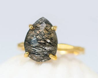 Black Tourmalinated Quartz Ring Gold, Tourmalated Quartz Ring, Solitaire Ring, Black Stone Ring, Stackable Ring, Unique Ring, Gift for Her