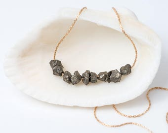 Raw Pyrite Necklace - Fools Gold Stone Bar Necklace - Raw Stone Necklace - Gold Layering Necklace - Beaded Necklace