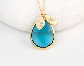 London Blue Topaz Necklace, December Birthstone Necklace, Gift for Sister, Gold Name Necklace, Keepsake Gift, Tear Drop Stone, Handmade Gift