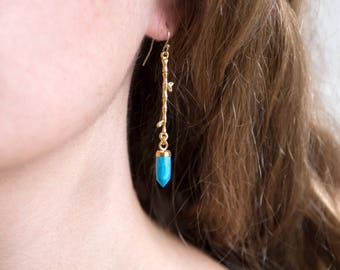 Stone Spike Drop Earrings, Turquoise Earrings Gold, Branch Earrings, Nature Inspired Jewelry, Twig Earrings, Crystal Point, Inspiration Her