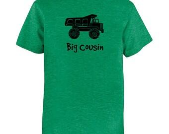 Big Cousin Tshirt - Kids Dump Truck Cousin Shirt - Tee - Youth Boy Shirt / Super Soft Kids Tee Soft PolyCotton Blend Fabric