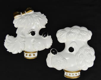 Vintage 1978 Chalkware Poodle Head Wall Hangings by Miller Studio Inc