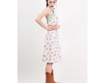 1930s dress / Vintage feed sack cotton halter dress / Geranium floral print / Button back / Summer sundress / XS