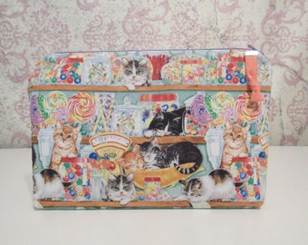 Candy Shop Cats Zipper Pouch // Cotton Organization, Travel Pouch