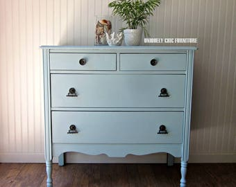 Cottage Blue Vintage Dresser~Coastal~chest of drawers~Shipping isn't Included