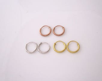 A pair of small 10mm yellow gold, rose gold plated sterling silver or sterling silver hoops sleeper earrings