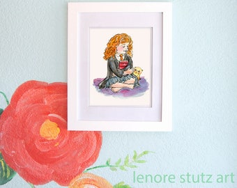 "Harry Potter Hermione Nursery Art,""Hermione with Crookshanks"" Watercolor, Nursery Art, Hermione Art, Harry Potter, Girls Room LSHP003"