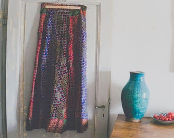 Vintage Indian Cotton Gauze Maxi Skirt, Gold Stamping, Boho skirt, Indian Skirt, Festival Skirt, Indian Block Print Fabric