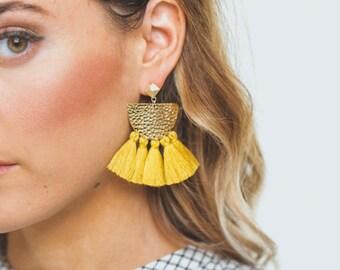 Mustard Green Fringe Earrings, Tassel Statement Earrings, Boho Earrings, Modern Earrings, Drop Earrings, yellow Earrings, Gifts for her