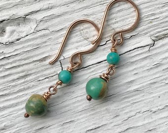 Turquoise dainty drop earrings in rose gold fill