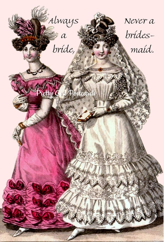 Wedding Card. Postcard. Bride. Bridesmaid. Gift For Her. Love. Flowers. White Dress. Lace. Groom. Maid of Honor. Best Man.