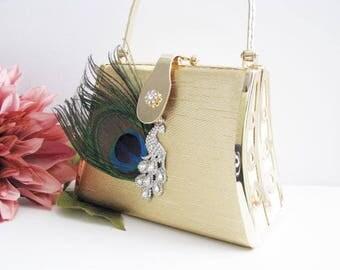 Gold Fabric, accessories, rhinestone, clutch, purse, evening bag, Gold Fabric Wedding Bag Clutch Formal Wear Austrian Crystals