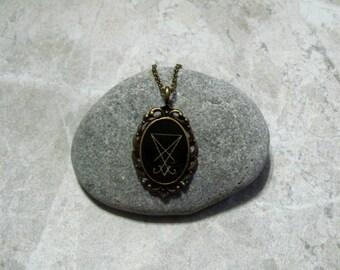 Lucifer Sigil Necklace Antique Bronze