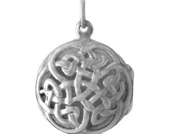 "Sterling Silver Celtic ANAM CARA Soul Friend Locket on 18"" sterling silver rolo chain"