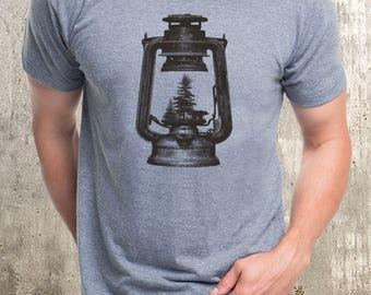 Men's T-Shirt - Kerosene Lantern & Forest - Men's Screen Printed T-Shirt - Available in S, M, L, XL and XXL