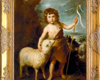 St John the Baptist with Lamb Art Print, Framed, Murillo, Print on Canvas