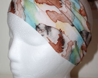 """NEW """"Watercolor Feather"""" Hankband - Wide Fabric Headband - Roughly 4.5"""" Wide - Super Soft Cotton Knit Headbands"""