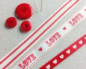 Vintage Love, Ribbon collection. Red Striped Cotton Trim. Red Grograin Heart Ribbon. Valentines Ribbon. Valentines Crafts. DIY Valentines.