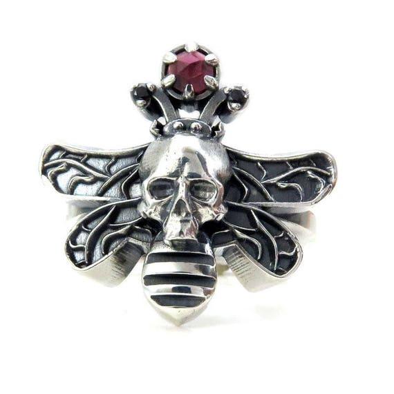 Moth Man Ring - Sterling Silver with Red Rose Cut Garnet Orb - Dead Head Moth Ring