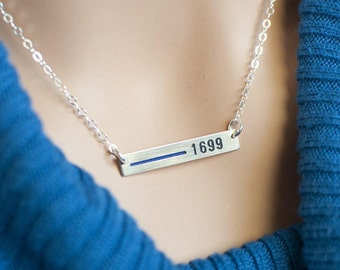 Thin Blue Line necklace Personalized for Police wives.Custom law enforcement badge number.Rectangle bar- Sterling Silver, Gold, or Rose Gold