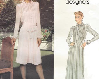 80s Albert Nipon Womens Boho Pintucked Dress Day or Evening Length Vogue Sewing Pattern 2641 Size 12 Bust 34 Vintage Vogue Patterns