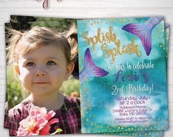 Mermaid Birthday Photo Invitation, Splish Splash, Our Little Mermaid, Under the Sea Party Any Age, Digital Download or Prints(Details Below)