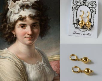 1790s Gold Bead Earrings, Reproduction Jewelry, Historical Earrings, Reenactor Jewelry, Historical Costume, Gold Beaded Earrings, Gold Ball