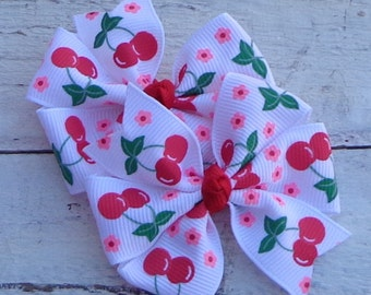 Hair Bows with Cherries~RED Cherry Hair Bow~Hair Bows for Girls~Pigtail Hair Bows~Cherry Hairbow~Hairbows for Girls~Summer Hair Bow~Hairbows
