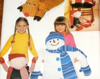 "Christmas Craft Sewing Pattern Butterick 4663 Plush Pillow Pals, 20"" X 25"" Holiday Snowman Reindeer Santa, 12"" Elf Doll, Uncut Factory Folds"