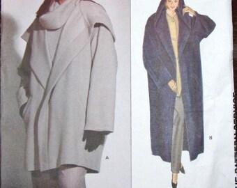 Vintage Calvin Klein Sewing Pattern Vogue American Designer 2995 Maxi Coat Hoody Jacket Womens Misses Size 12 14 16 Bust 34 36 38 Uncut FF