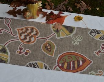 Autumn Fall Table Runner . Tribal Leaf Table Runner . Holiday Home Decor .  Rustic Autumn