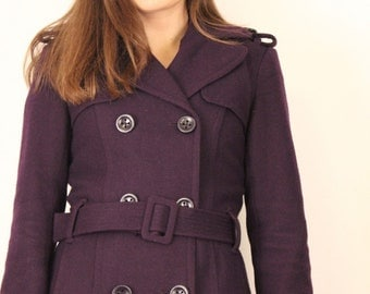 Woollen Purple Pea Coat, Macintosh, Double Breasted Princess Coat, Deep Purple