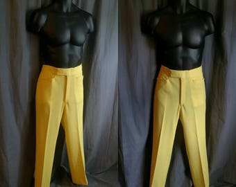 "1970s Izod Wondercord Pants for Men in Bright Yellow / 70s Double Knit Poly Pants by Izod Men's Size 34"" Waist-Adjustable to a smaller Size"