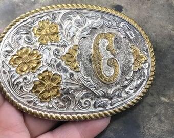 Crumrine  Belt Buckle. C Monogram  Western Belt Buckle. Americana. cowboy. for him. No.205