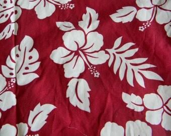NEW!!!  Red Hawaiian Fabric, Hibiscus Print in white
