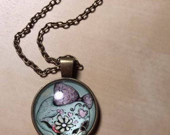 Antique Finished Girly Pink Skull Dangle Pendant Necklace, Candy Skull