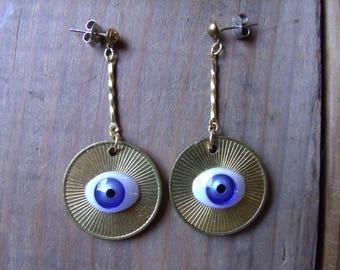 Doll Eye Earrings - blue eyes on fun house token