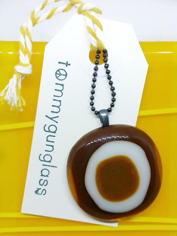 Autumnal Brown Glass Pendant with Chain