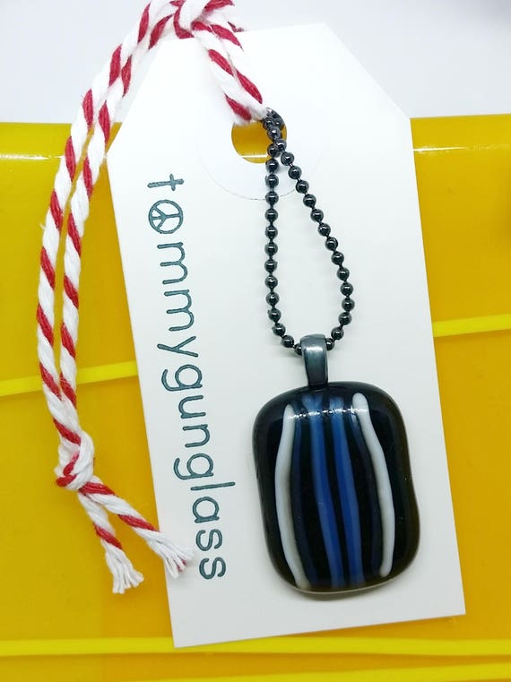 Black, White and Blue Fused Glass Pendant on Chain