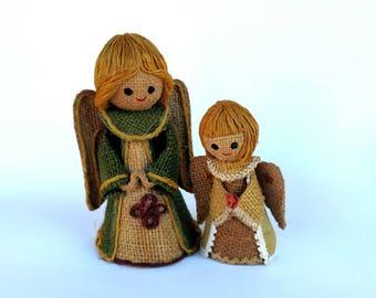 Vintage 1970's Rustic Burlap Angels