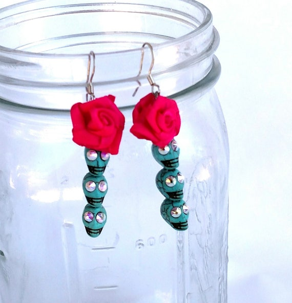 Turquoise Skull Earrings with Swarovski Crystals and Hot Pink Satin Rosettes - Day of the Dead Halloween Jewelry