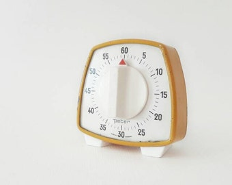 Vintage Mid Century Kitchen Timer by Peter Made in Germany in Orange
