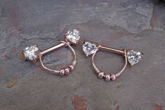 Heart Crystal Rose Gold Nipple Ring Rose Gold Nipple Piercing