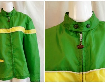 Vintage 1960s Mans Jacket Motocross Style Windbreaker Racing Gearhead Campus Label Mod Medium