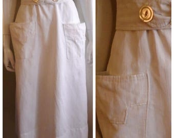 Vintage 1910s Skirt White Corded Cotton Wearable Skirt Pockets Mother of Pearl Buttons 28 inch Waist